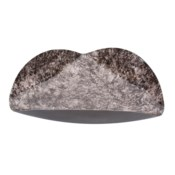 Flared Black Marbled Iron Plate, Small