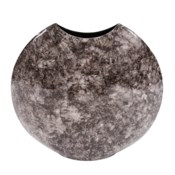 Round Black Marbled Iron Disc Vase, Small