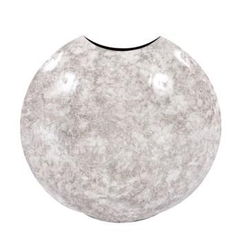 Round Gray Marbled Iron Disc Vase, Large