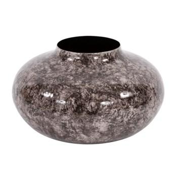 Round Black Marbled Iron Pod Vase, Large