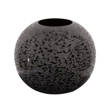 Chiseled Texture Black Iron Globe Vase, Small