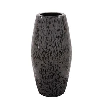 Chiseled Texture Black Iron Cylinder Vase, Large