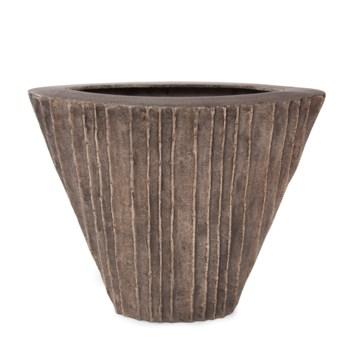 Organic Grooved Triangular Aluminum Vase
