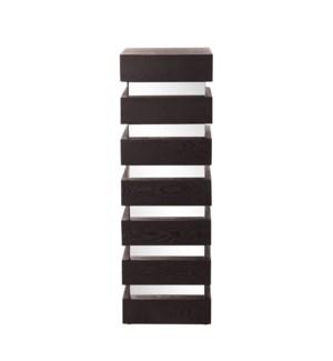 Stepped Black Wood Veneer Pedestal with Mirror - Tall