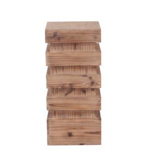 Stepped Natural Wood Pedestal - Medium