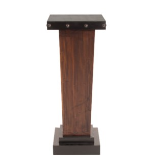 Tapered Rustic Wood Pedestal with Iron Accents