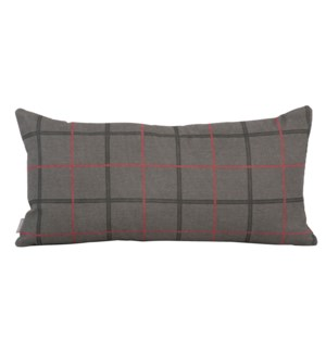 Kidney Pillow Oxford Charcoal - Poly Insert