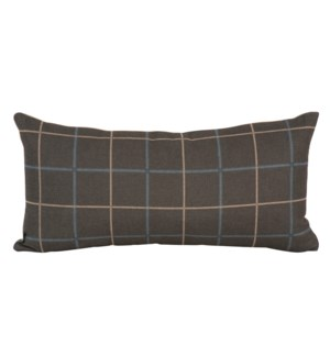 Kidney Pillow Oxford Slate - Poly Insert