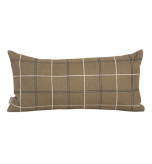 Kidney Pillow Oxford Moss - Poly Insert