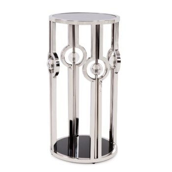 Stainless Steel Pedestal with Black Tempered Glass and Acrylic Ball Details, Small