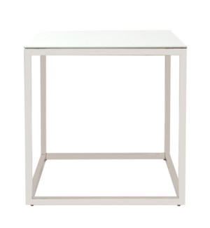 Square Stainless Steel Side Table - White