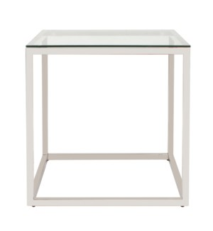 Square Stainless Steel Side Table - Clear