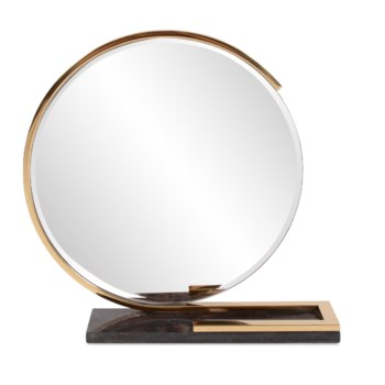 Gatsby Table Mirror with Black Marble Tray