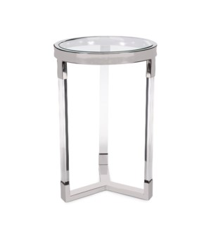 Round Stainless Steel & Acrylic Side Table