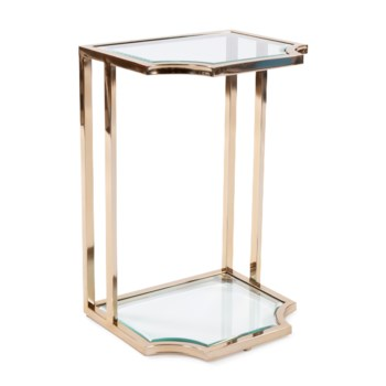Scalloped Edge Gold Side Table