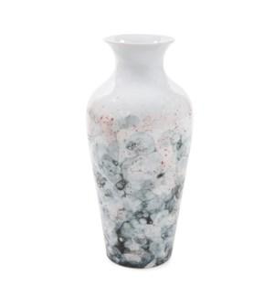 Gray and White Soap Bubble Porcelain Vase, Large
