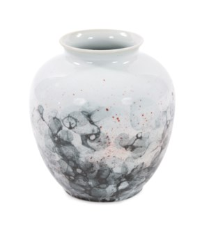 Gray and White Soap Bubble Porcelain Vase, Small