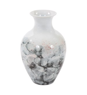 Gray and White Soap Bubble Porcelain Vase, Medium