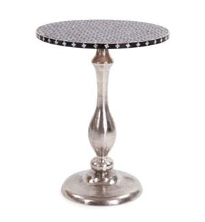 Nickel Metal with Bone Top Martini Table