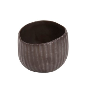 Ribbed Bronze Freeform Tea Light Candle Holder, Small