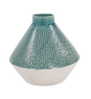 Cross Hatched Sea Blue Ceramic Angled Vase