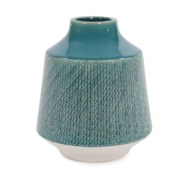 Cross Hatched Sea Blue Ceramic Round Vase