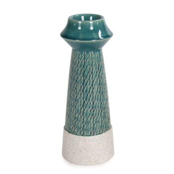 Cross Hatched Sea Blue Ceramic Candle Holder, Large