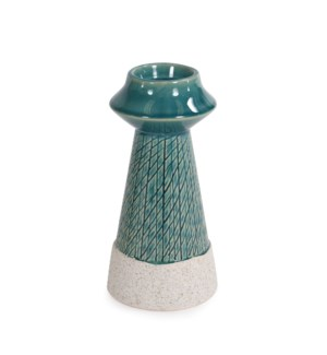 Cross Hatched Sea Blue Ceramic Candle Holder, Small