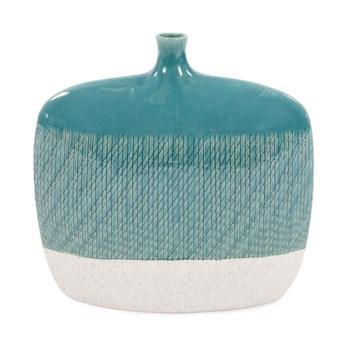 Cross Hatched Sea Blue Ceramic Flat Vase