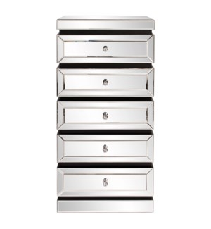 5-Tiered Mirrored Tower with Drawers