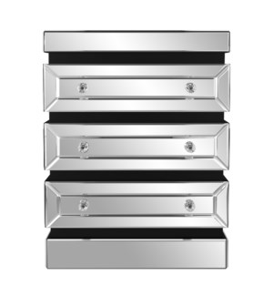 3-Tiered Mirrored Side Table w/ Drawers