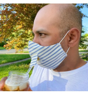 Happy Hour Reusable Face Mask in Denim Ticking Stripe