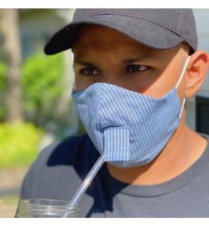 Happy Hour Reusable Face Mask in Denim Stripe
