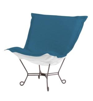 Scroll Puff Chair Seascape Turquoise Titanium Frame