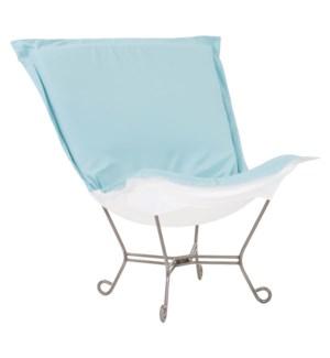 Scroll Puff Chair Seascape Breeze Titanium Frame