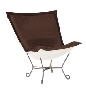 Scroll Puff Chair Seascape Chocolate Titanium Frame