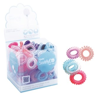 SwirlyDo Hair Ties in display (144 pce) - Bright