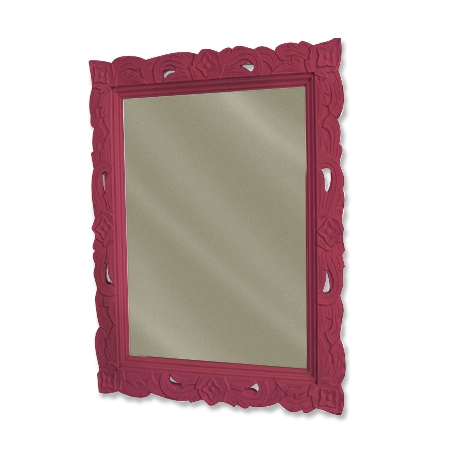 FLORAL CARVED MIRROR - RED