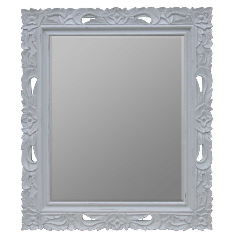 FLORAL CARVED MIRROR - GRY