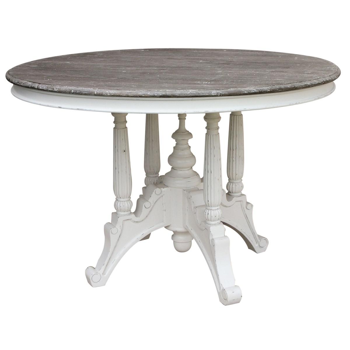 RAFFLES ROUND DINING TABLE -  WHT/RW+