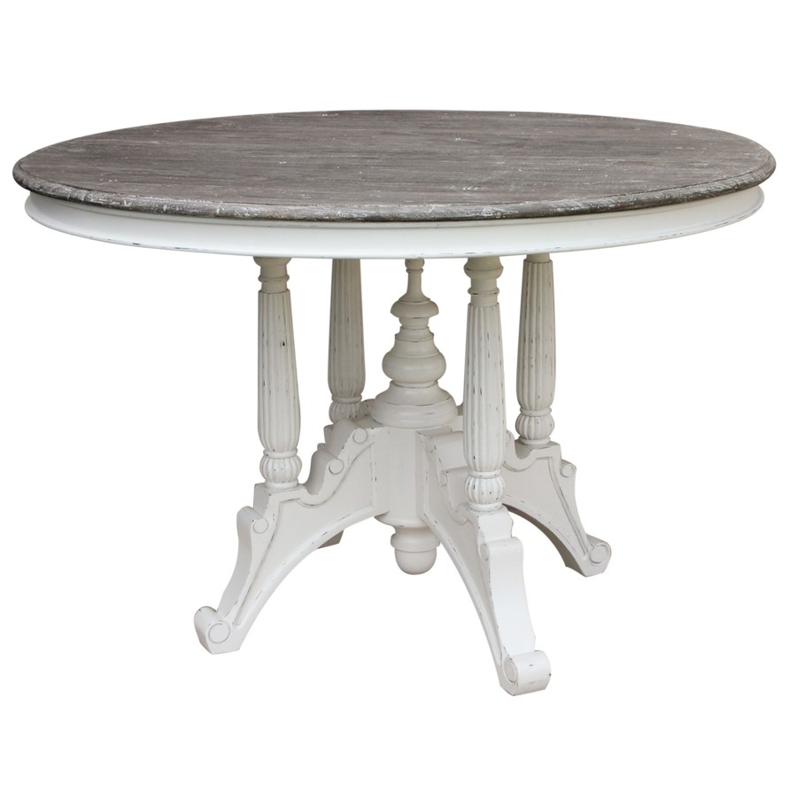 RAFFLES ROUND DINING TABLE -  WHT/RW+
