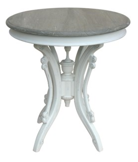 VICTORIAN TEA TABLE- WHT/RW+