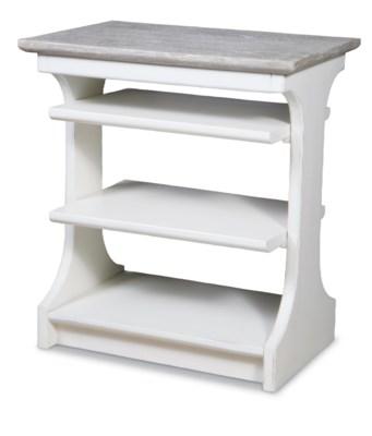KENNEDY CHAIRSIDE TABLE - WHITE/RIVERWASH