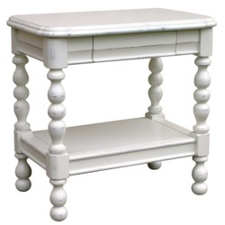 NEWPORT RECTANGLE SIDE TABLE  -  WHT