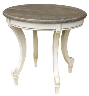 SIENA OVAL END TABLE-WHT/RW+