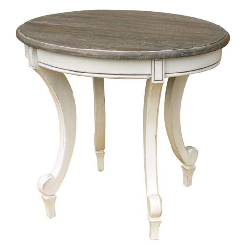 SIENA OVAL END TABLE - WHT/RW+