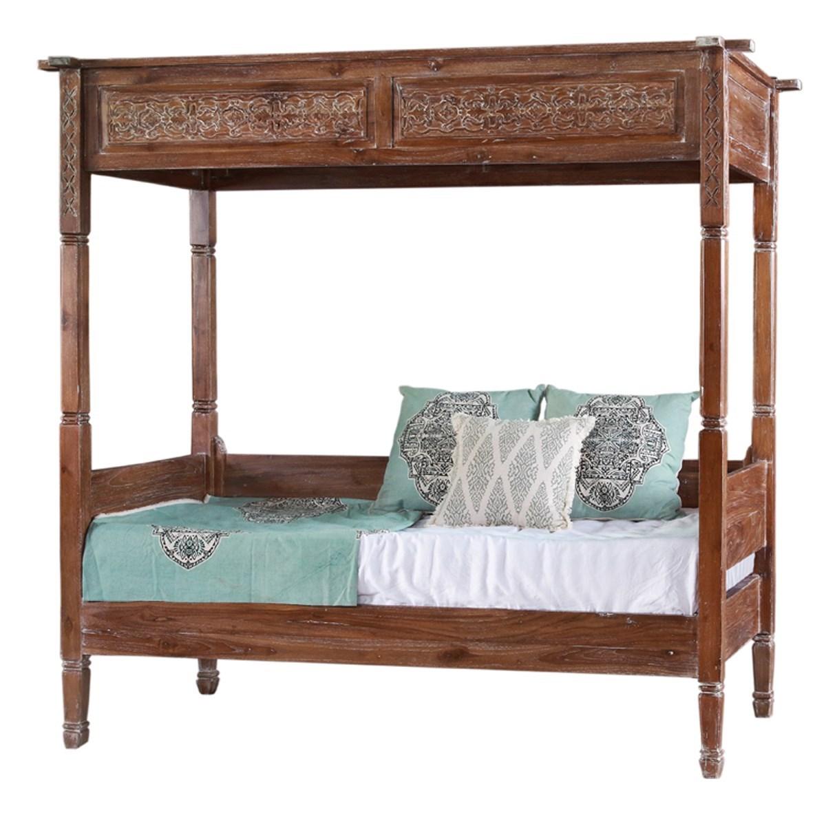 Carved Canopy Bed - Teak