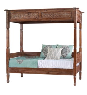 Carved Canopy Bed - Teak