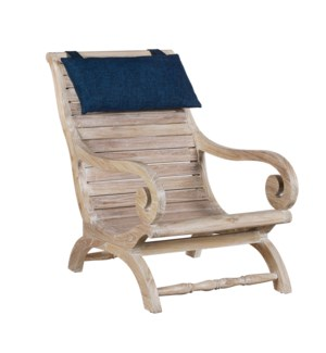 Teak Slatted Lazy Chair with Neck Rest