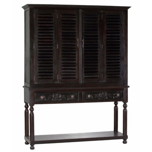 Double Shutter TV Cabinet with Carving